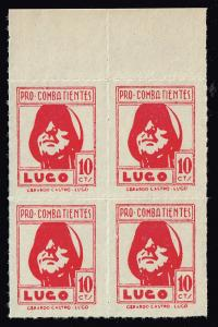 SPAIN STAMP LUGO Civil War War Period Local Stamp 10C RED MNH BLK OF 4