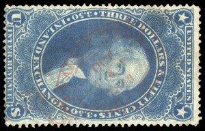 01372 U.S. Revenue Scott R87c $3.50 Inland Exchange, red 1868 handstamp cancel