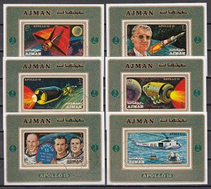 Ajman, Mi cat. 862-867 C. Apollo 15 issue as s/sheets. Helicopter. Used. ^