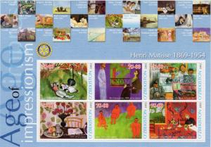 Uzbekistan 2002 ROTARY INTERNATIONAL/HENRI MATISSE (1869-1954) Sheetlet (6) MNH