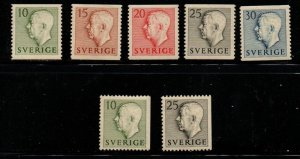Sweden Sc 418-24 1951 Gustav VI Adolf stamp set mint NH