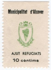 (I.B) Spain Civil War Cinderella : Alcover Refugee Stamp 10c