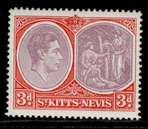 ST KITTS-NEVIS GVI SG73c, 3d reddish lilac & scarlet, NH MINT.