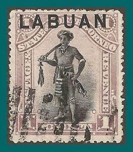 Labuan 1894 Dyak Chief, p15, cancelled  #49,SG62