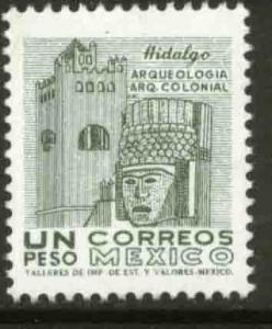 MEXICO 1095, $1P 1950 Defin 9th Issue Unwmkd Fosfo Coated. MINT, NH. F-VF.