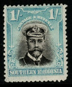 SOUTHERN RHODESIA SG10 1924 1/= BLACK & LIGHT BLUE MTD MINT