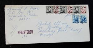 US Stamp Sc #C59 Strip of 3 + 1233 Pair on Registered Cover from Hawaii May 1969