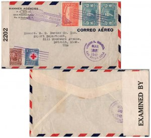 Honduras 1c Red Cross and 1c Morazan Postal Tax, 2c Central District Palace a...