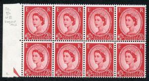 S55 2 1/2d Carmine red Crowns Wmk Type 2 State 3 U/M Block 8