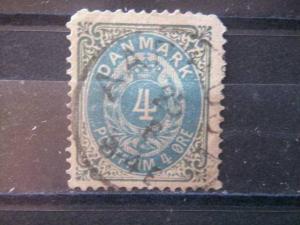 DENMARK, 1875, used 4o, Scott 26