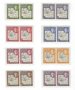 FALKLAND IS. DEPENDENCIES #1L1-1L8 1946 MAP- PAIRS (80TH PARALLELL GAP) MINT LH