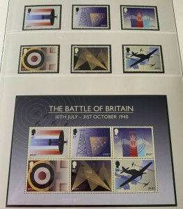 JE39) Jersey 2015 Battle of Britain 75th Anniversary set of 6 & Sheetlet MUH