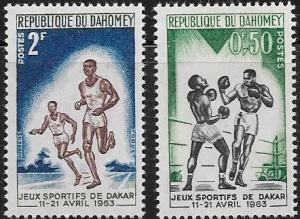 REPUBLIQUE DU DAHOMEY DAH-1 , PAIR OF MNH-VF SPORTS STAMPS