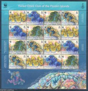 PITCAIRN ISLANDS 2012 WWF FLUTED GIANT CLAM SHEET OF SIXTEEN MINT NH