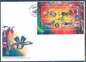 BURUNDI 2012 HARLEY DAVIDSON MOTORCYCLES SHEET OF 4 FDC