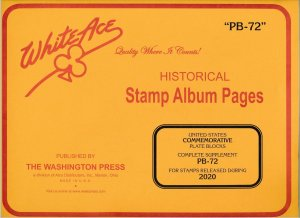 WHITE ACE 2020 US Commemorative Plate Blocks Album Supplement PB-72