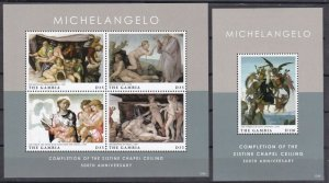 Gambia 2012 Michelangelo art paintings  klb+s/s  MNH