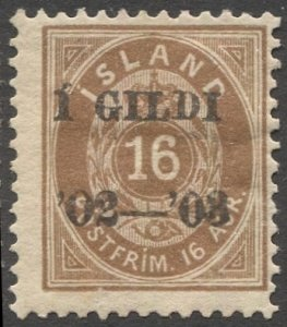 ICELAND 1902  Sc 55 16a brown MH F-VF