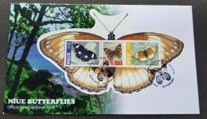 *FREE SHIP Niue Butterflies & Moth 2010 Insect (FDC) *odd shape *unusual