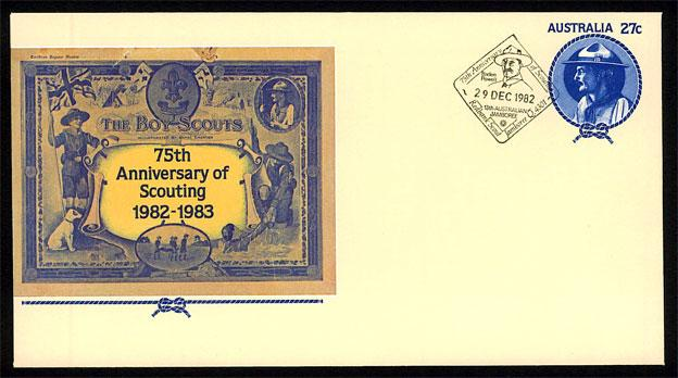 Australia - 75th Anniversary of Scouting pre-stamp Envelope