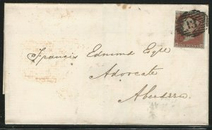 Great Britain, Scott #3, 1p red brown Imperf., bluish paper, on 1850 Cover