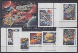 Uzbekistan stamp Cosmos corner set + block MNH 1997 Mi 129-135 + Mi 15 WS130315