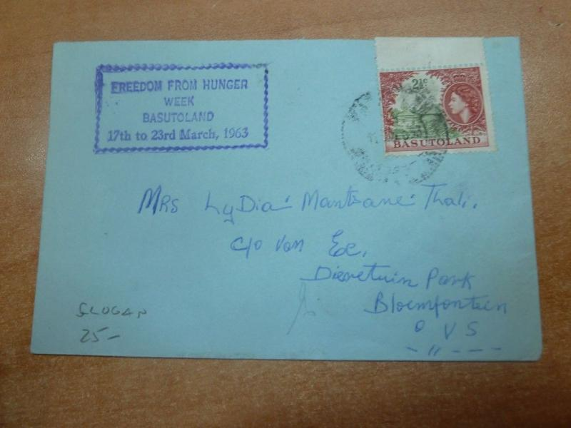 Basutoland 1963 QEII 2 1/2c on Hunger slogan cover (8bed)