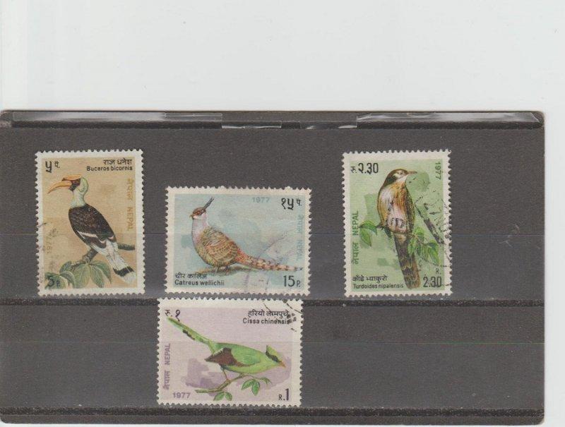 Nepal  Scott#  331-4  Used  (1977 Birds of Nepal)