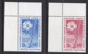 United Nations  New York  #255-256  1975  MNH  wild rose