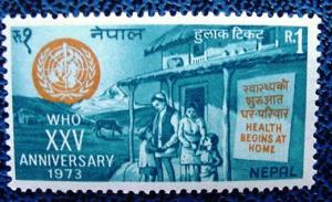 Nepal 269: 1 R WHO 25th Anniversary, MNH, VF