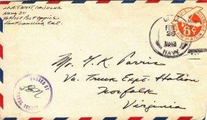 1943, Navy 311 Naval Air Base, Johnson Island to Norfolk, VA, Censored (N6237)