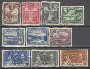 COLLECTION LOT # 3624 BRITISH GUIANA 10 STAMPS 1934+ CV+$23
