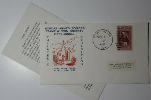 Border Armed Forces Stamp& Coin Society Ft Bliss TX 1957 Philatelic Expo Cachet