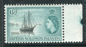 BRITISH SOLOMON ISLANDS; 1953 early QEII issue fine mint hinged 6d. value