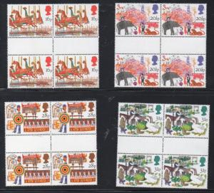 Great Britain Sc 1031-34 1983 British Fairs stamps gutter blocks of 4 mint NH