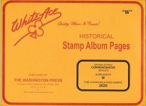 WHITE ACE 2020 US Commemorative Singles Stamp Album Supplement W  NEW!