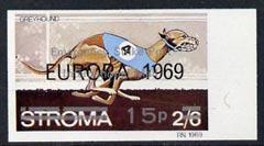Stroma 1971 Dogs 15p on 2s6d (Greyhound) imperf single ov...