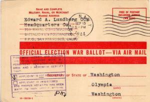 United States Fleet Post Office Free Official War Ballot Mail 1944 U.S. Navy ...