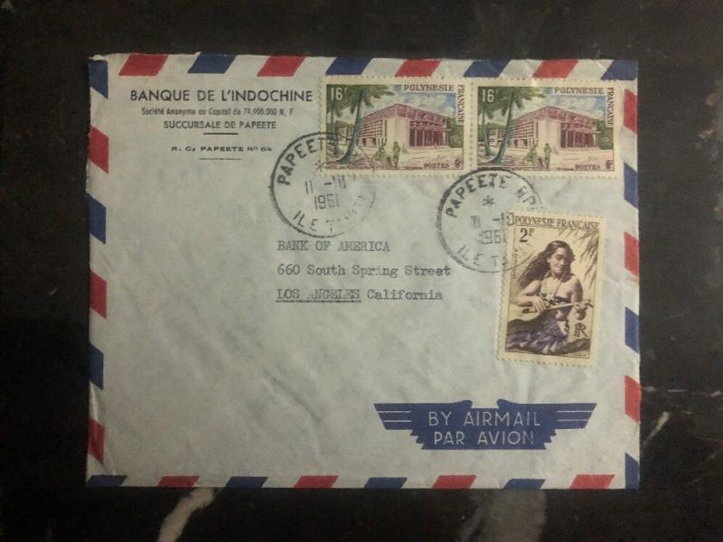 1961 Papeete Tahiti French Polynesia Bank Of Indochina Cover To Los Angeles US B