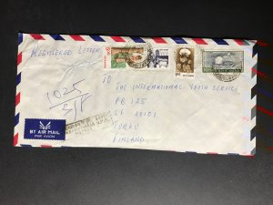 India Registered Cover to Finland City Cancel (1980s-1990s) Cover #2374
