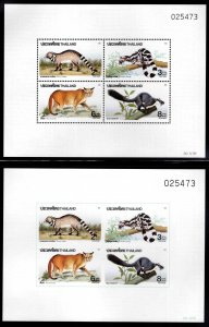 Thailand  Scott 1428a MNH** Perf + Imperf Wildlife souvenir sheets matched #'s