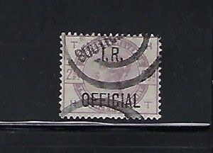 GREAT BRITAIN SCOTT #O5 1882-85  2 1/2P (LILAC) I.R. OFFICIAL - USED