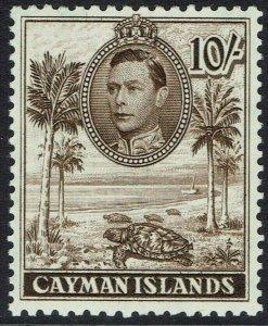 CAYMAN ISLANDS 1938 KGVI TURTLE 10/- MNH ** PERF 11.5 X 13