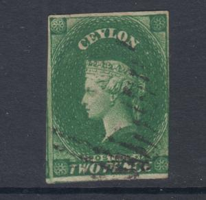 Ceylon SG 3a, Sc 4a used 1857 2p yellowish green QV, imperf, sound, light cancel