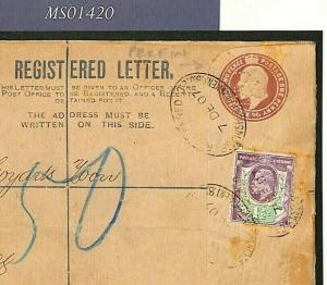 GB KEVII PERFIN STATIONERY 1907 Registered Cover Tilburg {samwells-covers}MS1420