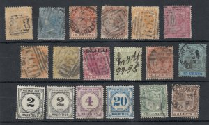 Mauritius QV Onwards Collection Of 18 VFU/MH JK5368