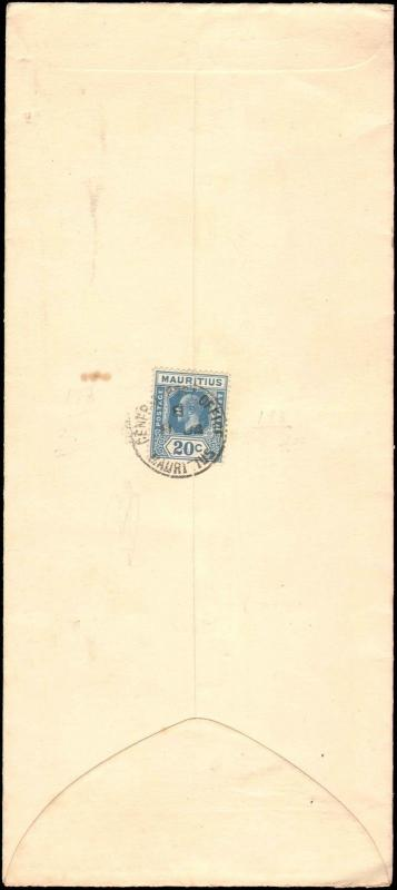 1938 MAURITIUS SINGLE 20 CENT TO UNITED STATES