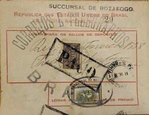 A) 1938, BRAZIL, NATIONAL POSTCARD, REVENUE STAMP, BOTAFOGO BRANCH, POST AND TEL