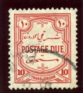 Transjordan 1929 Postage Due 10m scarlet very fine used. SG D192. Sc J33.