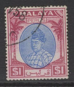 MALAYA PERLIS SG25 1951 $1 BLUE & PURPLE FINE USED
